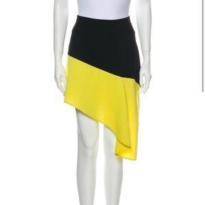 BALENCIAGA size 36 black/yellow colorblock SKIRT